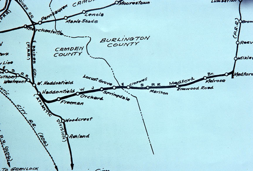 Diagram of Stations - There were three in Evesham township - Cropweel Road, Marlton at Cooper Avenue, and Elmwood Road in addition to a siding at the Marlpits