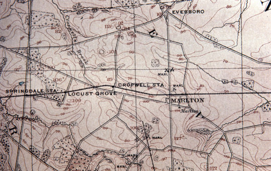 Map of Railroad Route Running Parallel to the Old Marlton Pike Along What is Now Route