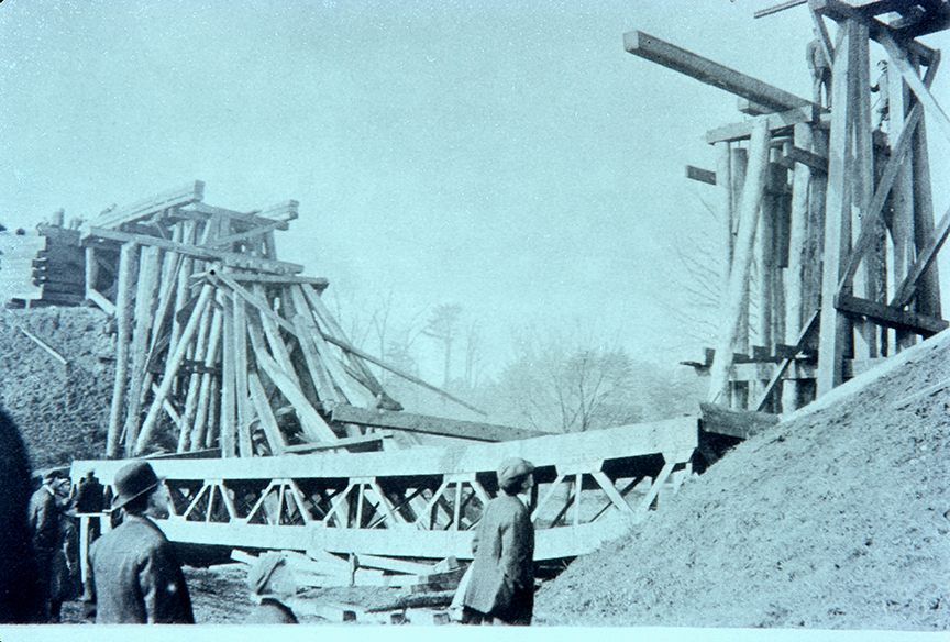 Trestle Collapse - December 24, 1911 - The steel center span slipped and fell into the creek during a replacement operation. Two workmen were killed and six injured in the only serious accident in the 50 year history of the RR.